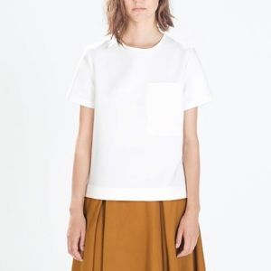 ZARA Boxy Top with Leather Pocket